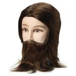 Brave Head szakállas férfi babafej humán hajjal, 20 cm